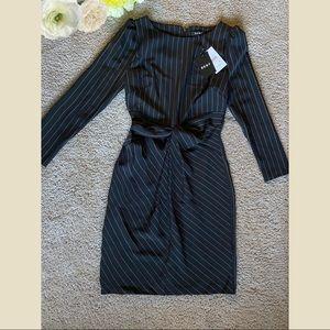 DKNY Pinstriped Twist-Front Sheath Dress MSRP $129